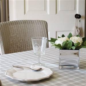 Grey check table cloth