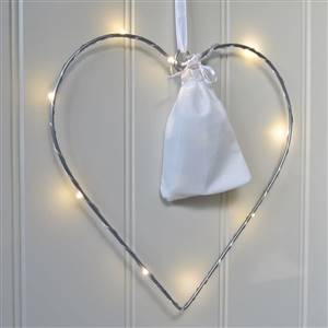 Small LED Silver Hanging Heart