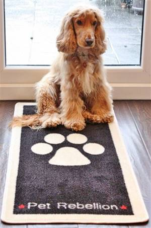 Pet Floor Mat Black Paw Design