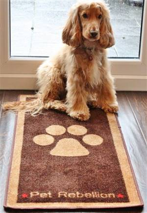 Pet Floor Mat Paw Design Brown