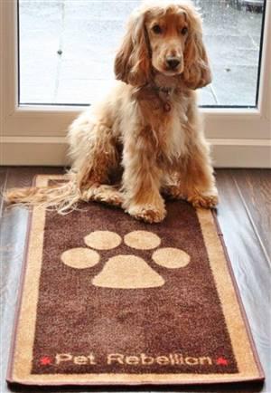 Pet Floor Mat Paw Design Brown