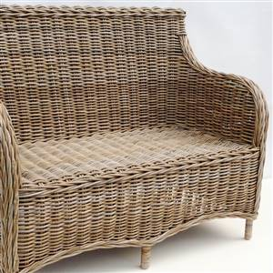 Grey rattan sofa 2 seater