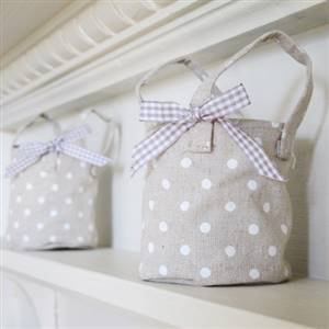 Linen polka dot candle bag x 1