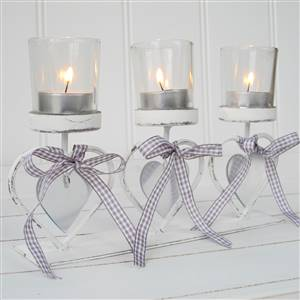White 3 Heart Tea Light Candle HolderSECONDS