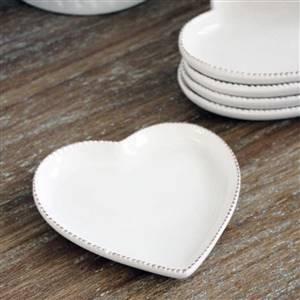 White Heart Dish Plate