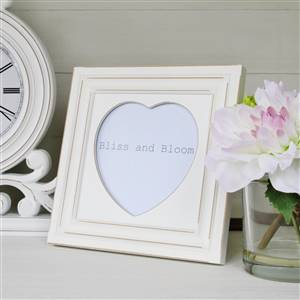 Large White Heart Photo Frame