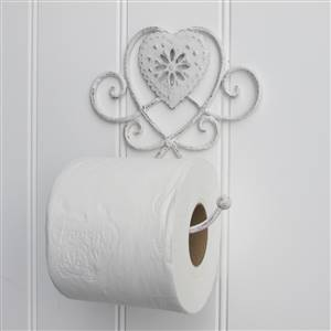 White heart toilet roll holder