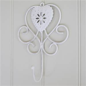 White Heart Wall Hook