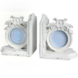 White Ornate Photo Bookends