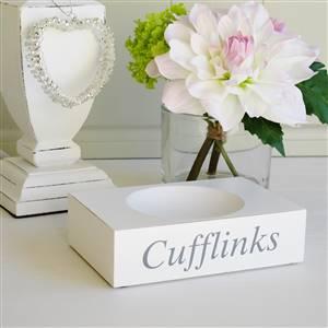 White wooden cufflinks holder
