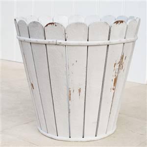 White Wooden Waste Paper Bin