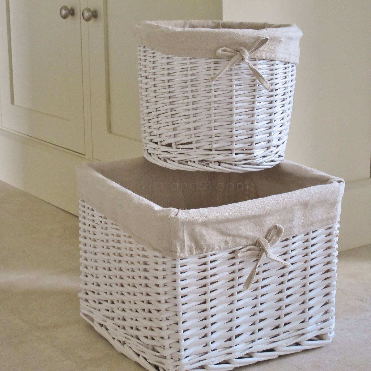 2 White Storage Basket Bins Bliss And Bloom Ltd