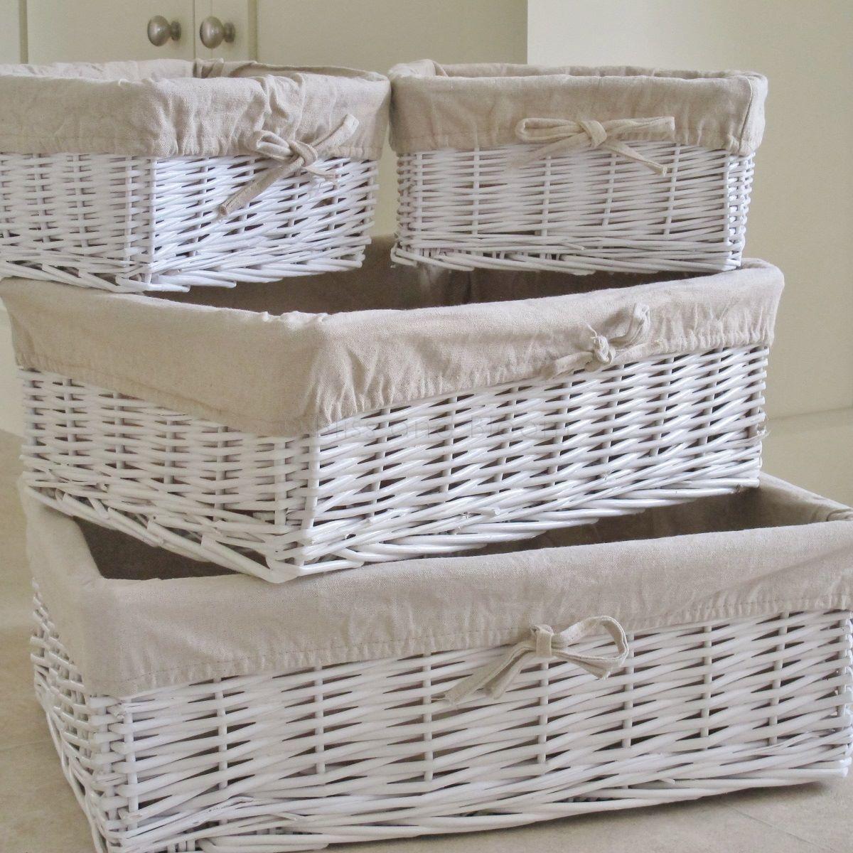 4 white wicker storage baskets bliss and bloom ltd - White wicker bathroom accessories ...