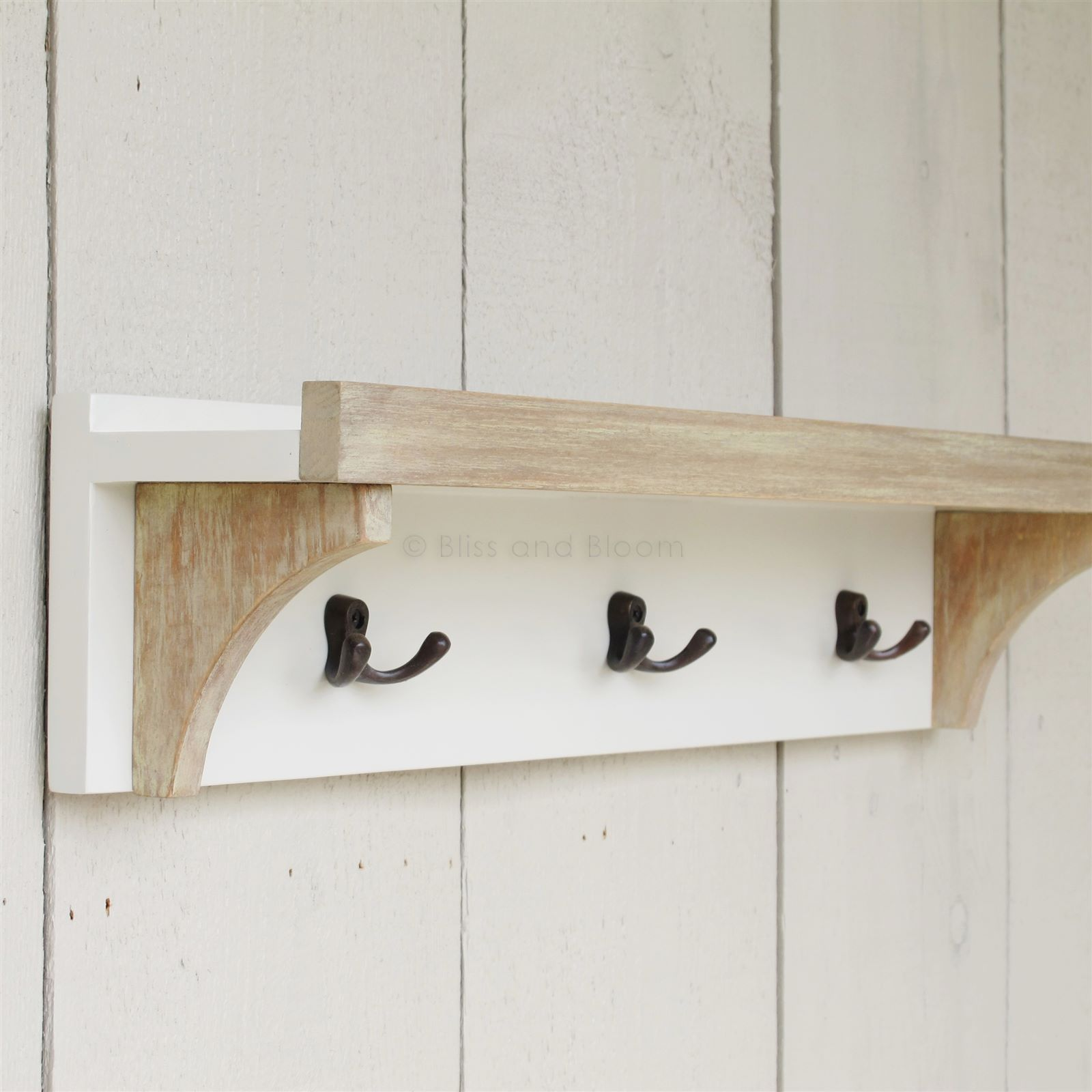Antique White Shelf 3 Coat Hooks. Hover To Zoom Click Here For A Bigger  Picture