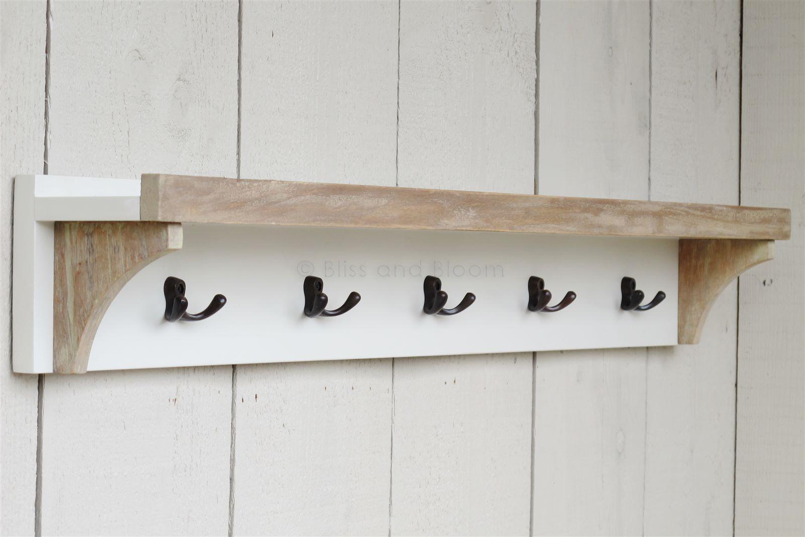 Antique white shelf 5 coat hooks