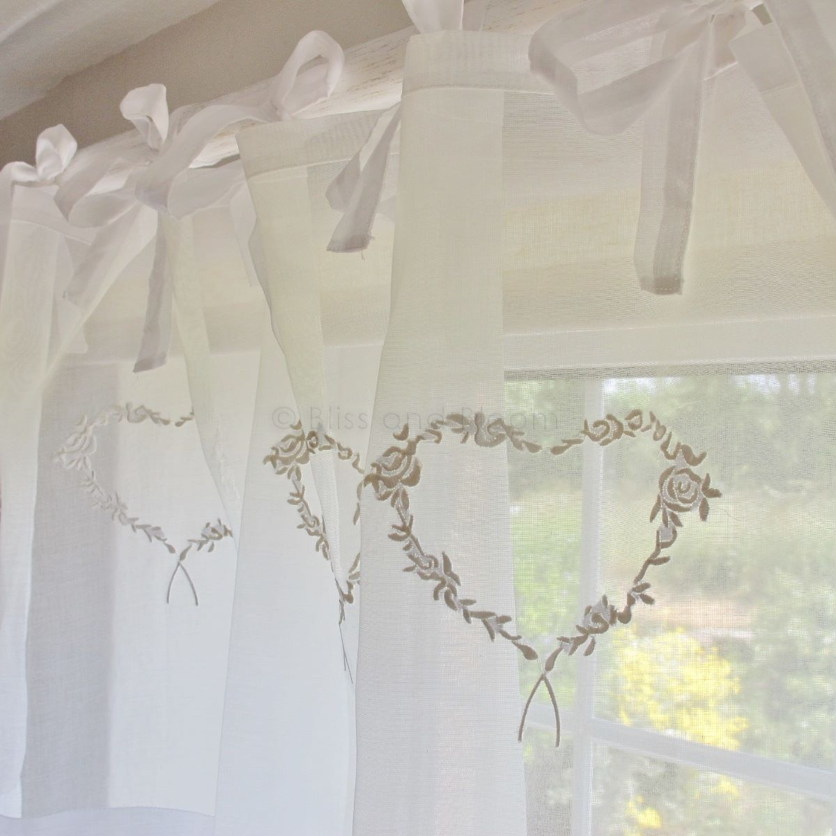 White heart voile tie curtain x 1 | Bliss and Bloom Ltd for Grey And White Voile Curtains  53kxo