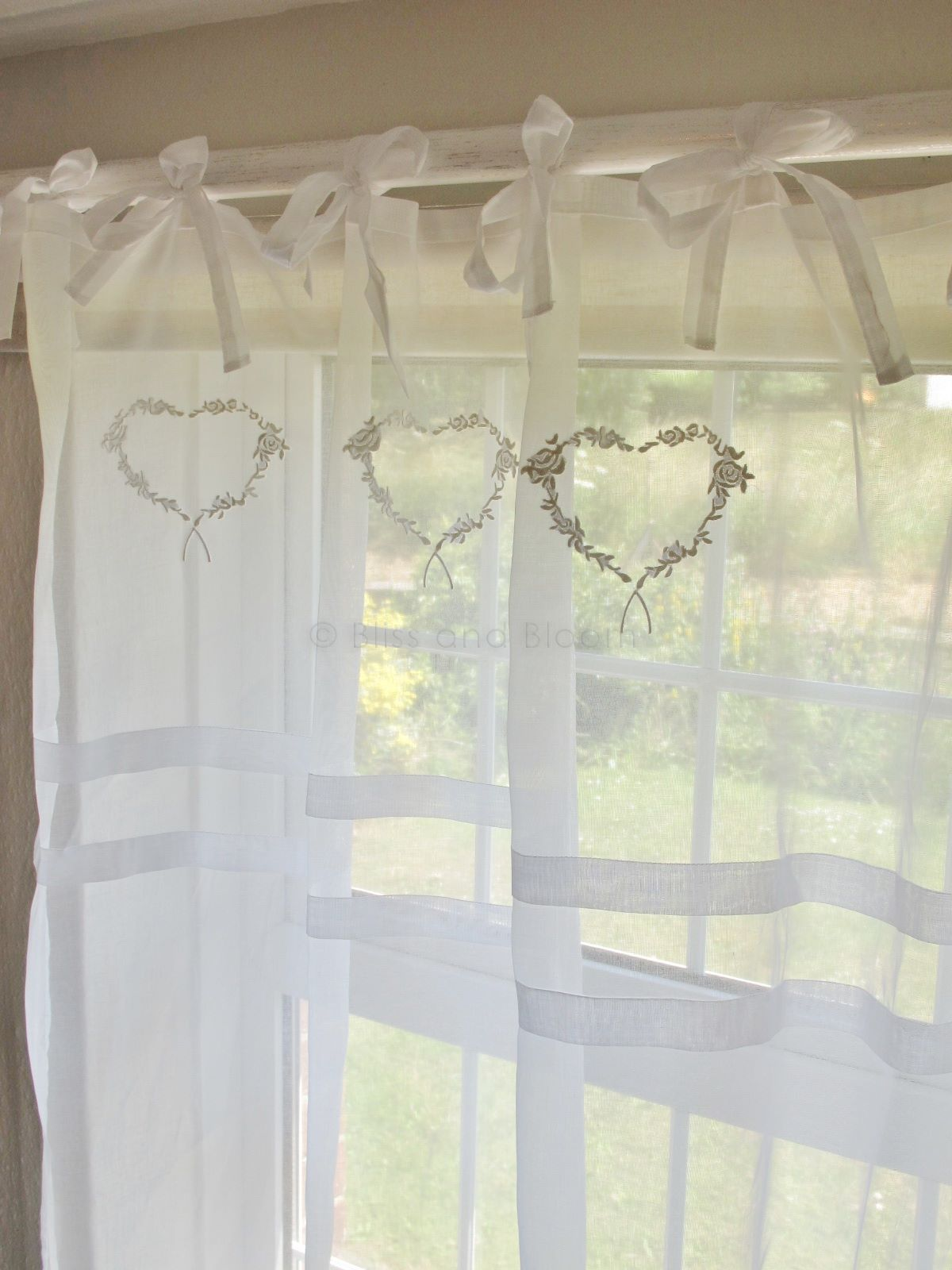 White Heart Voile Tie Curtain X 1 Bliss And Bloom Ltd