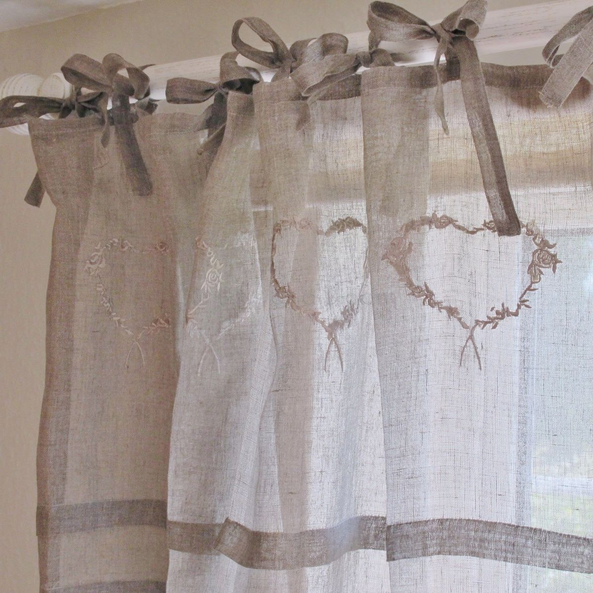 Heart linen voile curtain x 1 Bliss and Bloom Ltd