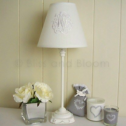 White lamp monogram shade bliss and bloom ltd white lamp monogram shade hover to zoom click here for a bigger picture mozeypictures Images