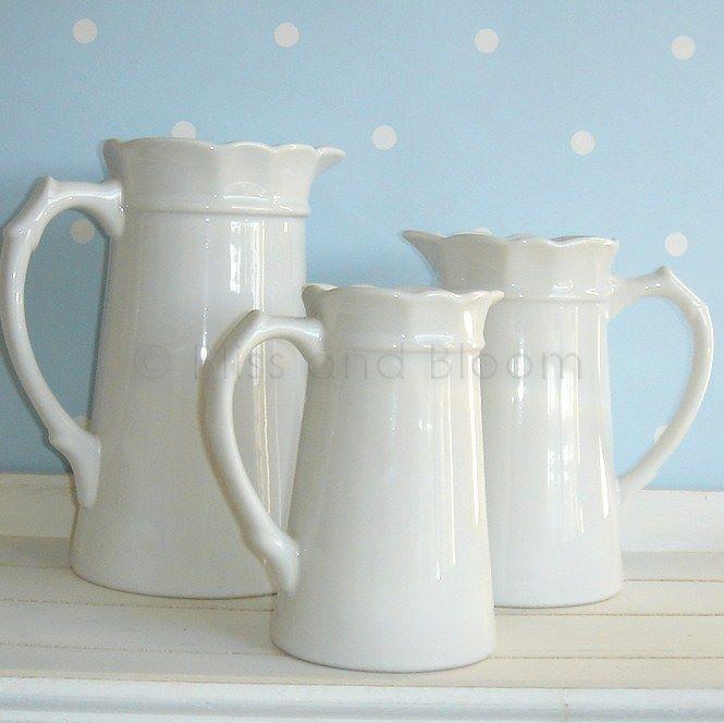 Set Of 3 White Jugpitchervases Bliss And Bloom Ltd