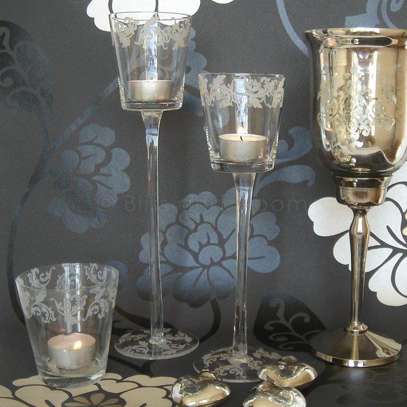 2 Etched Glass T Light Holders Bliss And Bloom Ltd