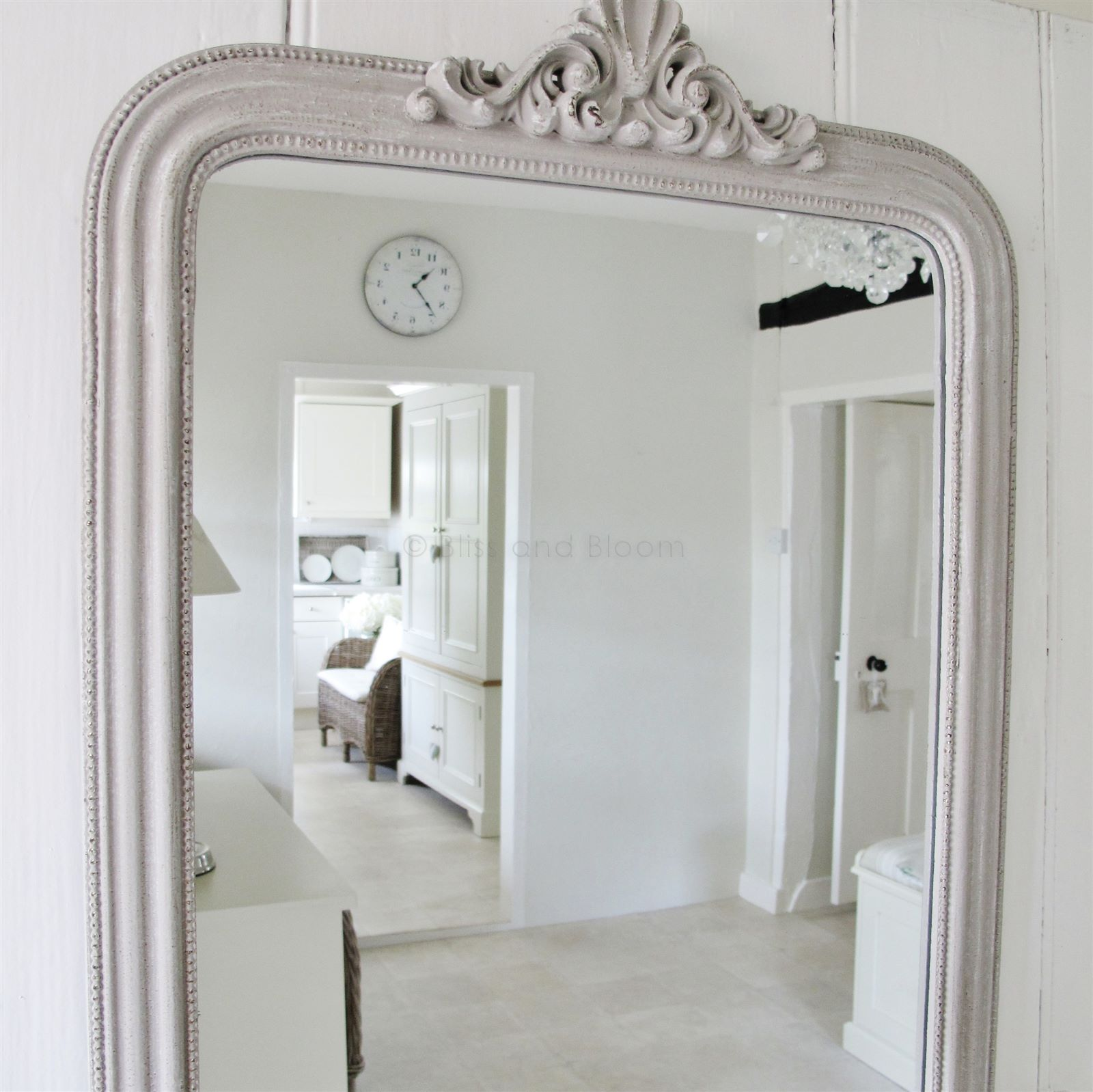 gray wall mirror large french style grey wall mirror hover to zoom click here for bigger picture mirror bliss and bloom ltd