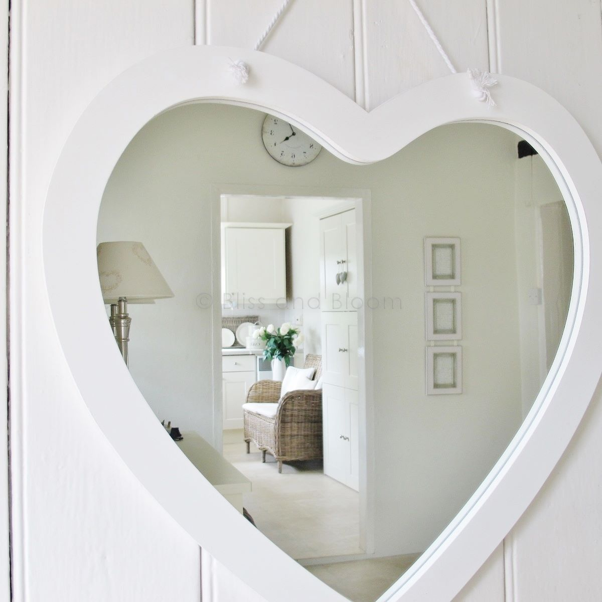 Large White Heart Mirror Bliss And Bloom Ltd
