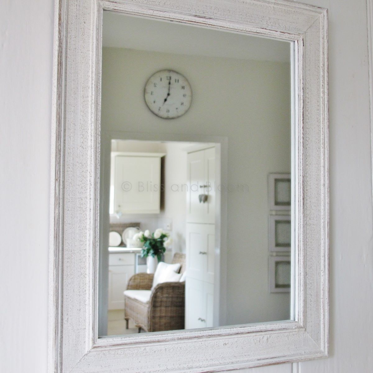 Antique white mirror beautiful white distressed and aged frame with