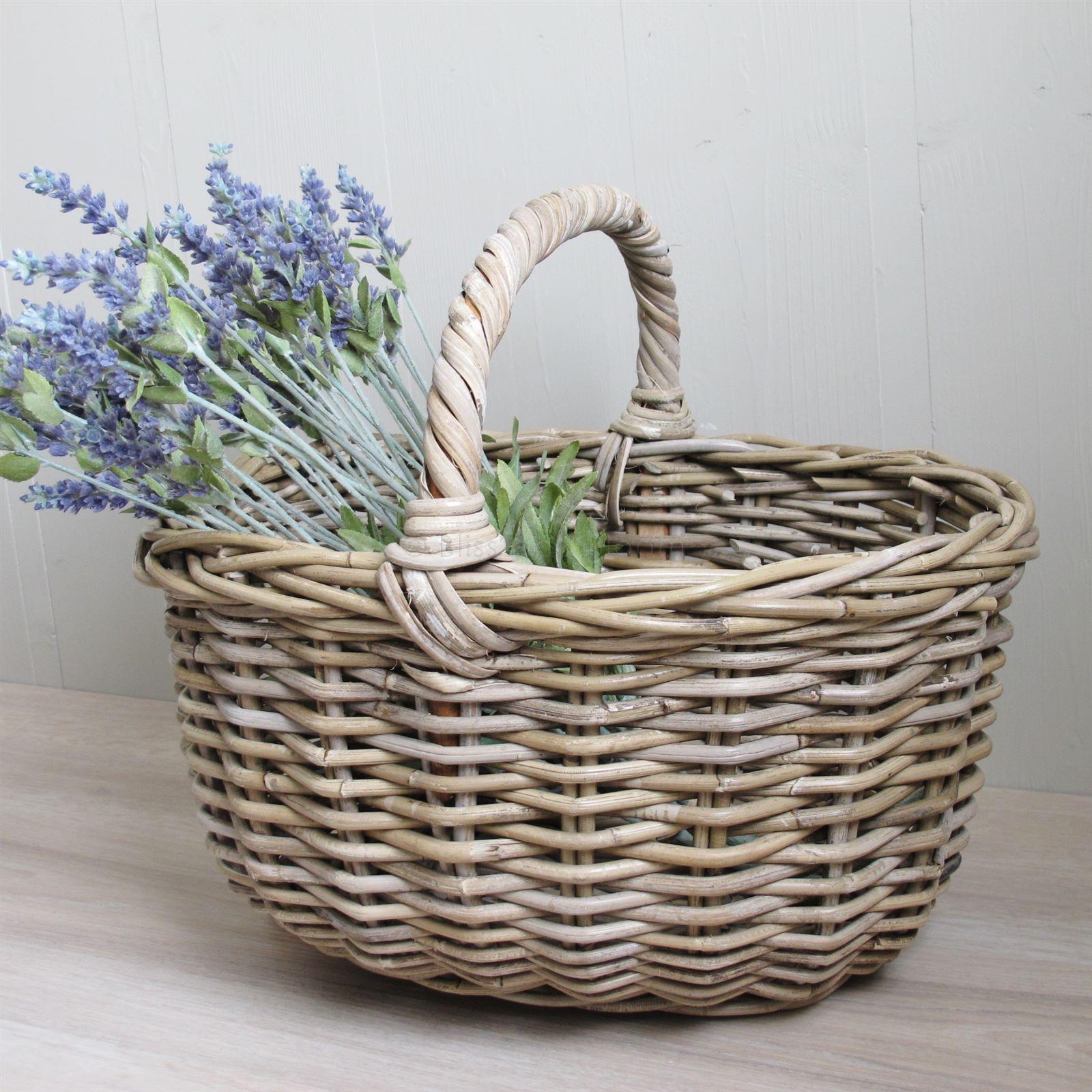 Grey Buff Rattan Square Cube Wicker Storage Basket: Grey Buff Rattan Shopping Basket