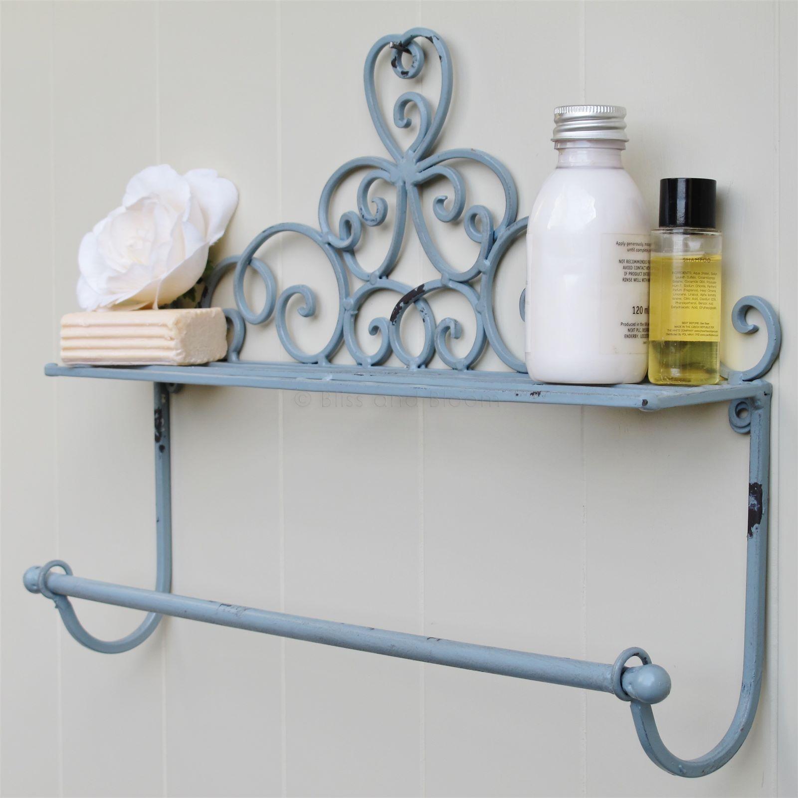 Grey Wall Shelf Towel Rail   Bliss and Bloom Ltd