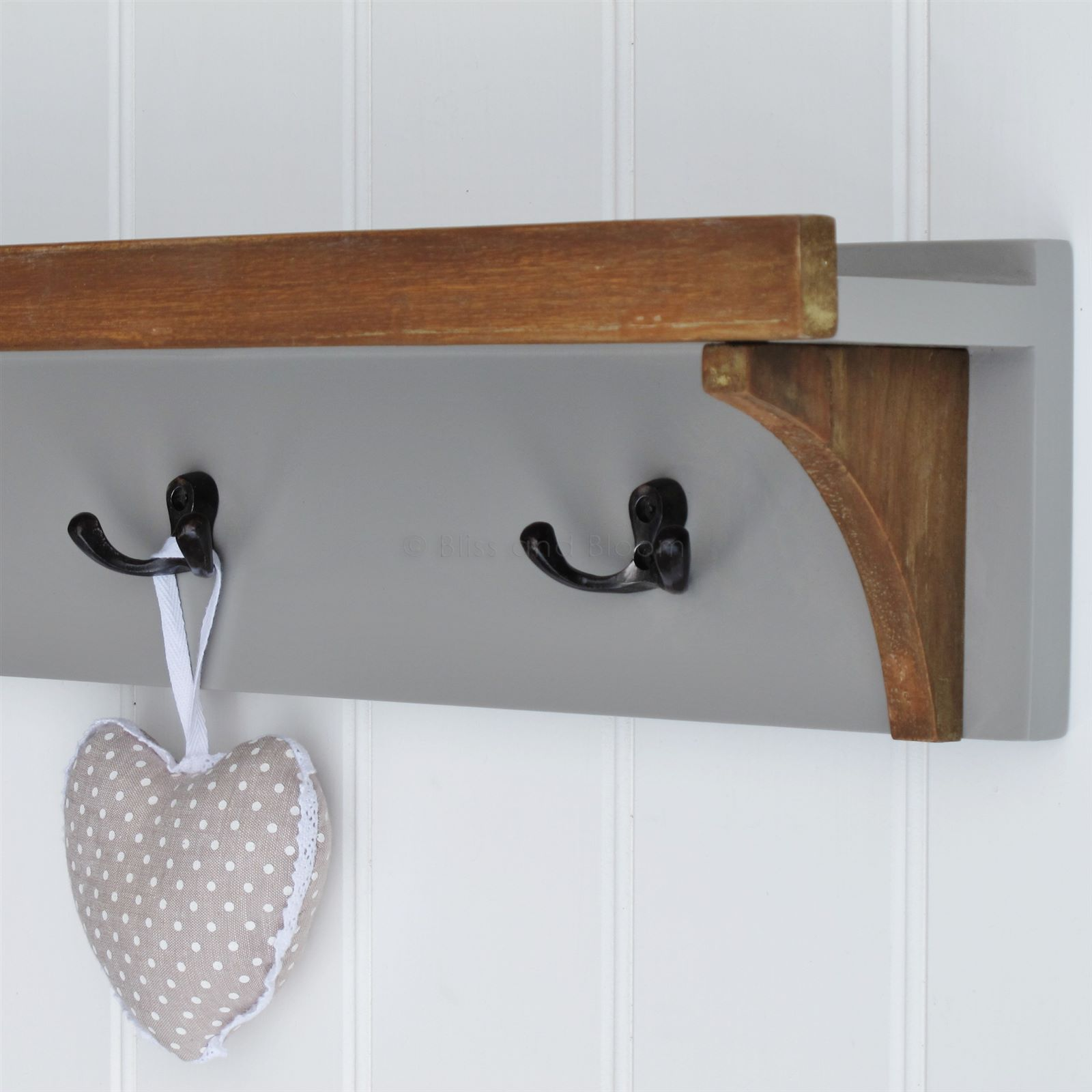 Charmant Grey Wall Shelf 5 Coat Hooks. Hover To Zoom Click Here For A Bigger Picture