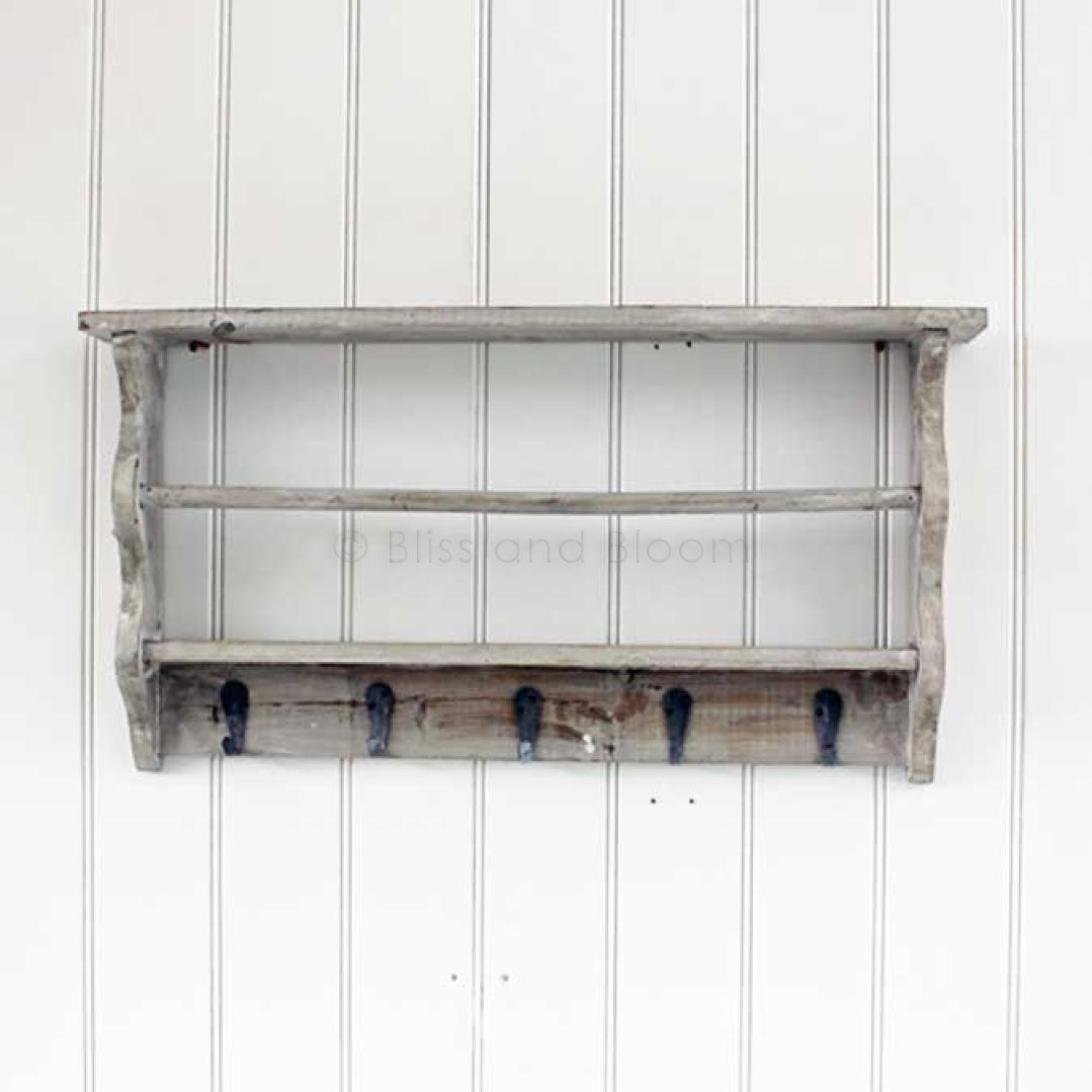 Grey Washed Shelf Hooks Rack Bliss And Bloom Ltd