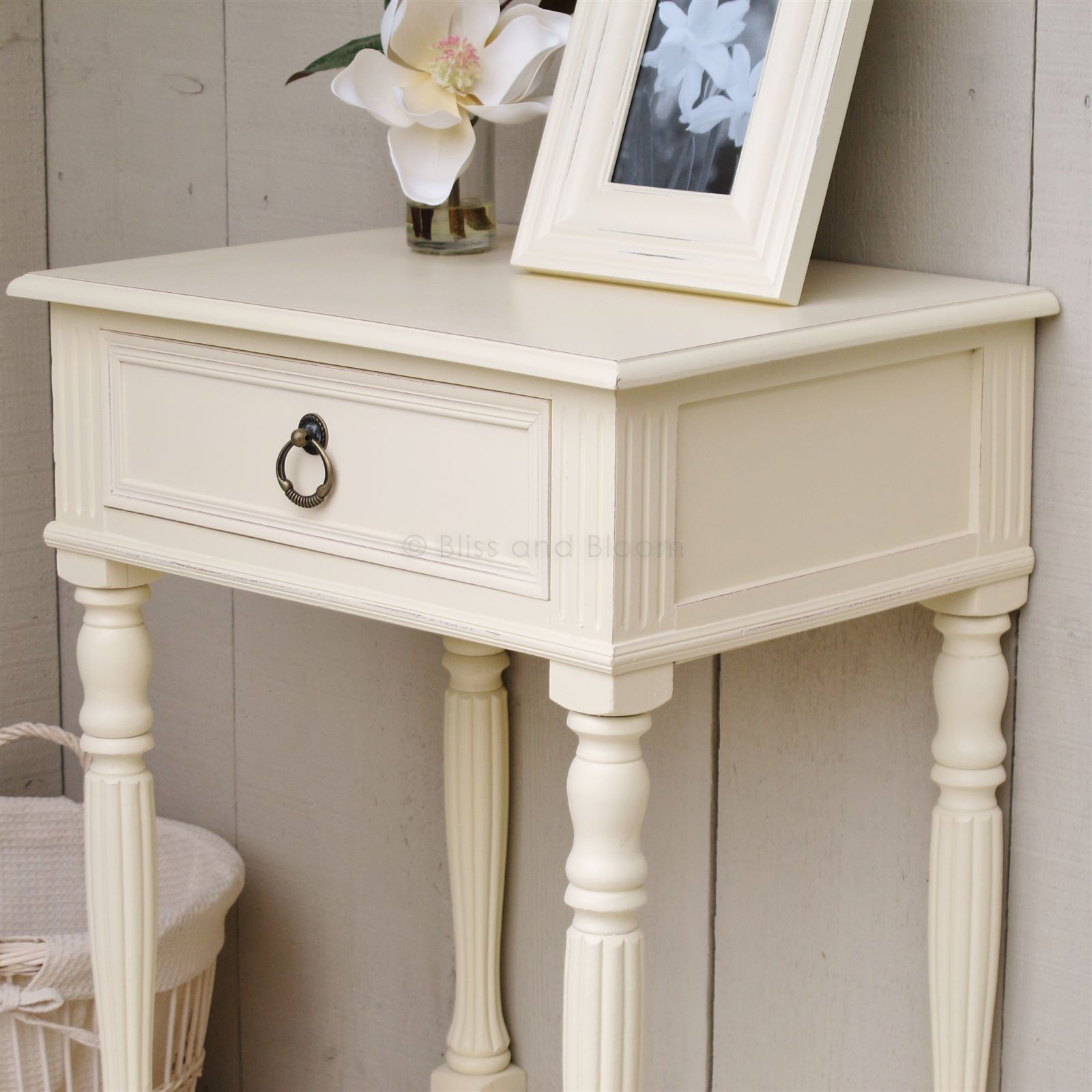 Cream Bedside Side Table Bliss And Bloom Ltd