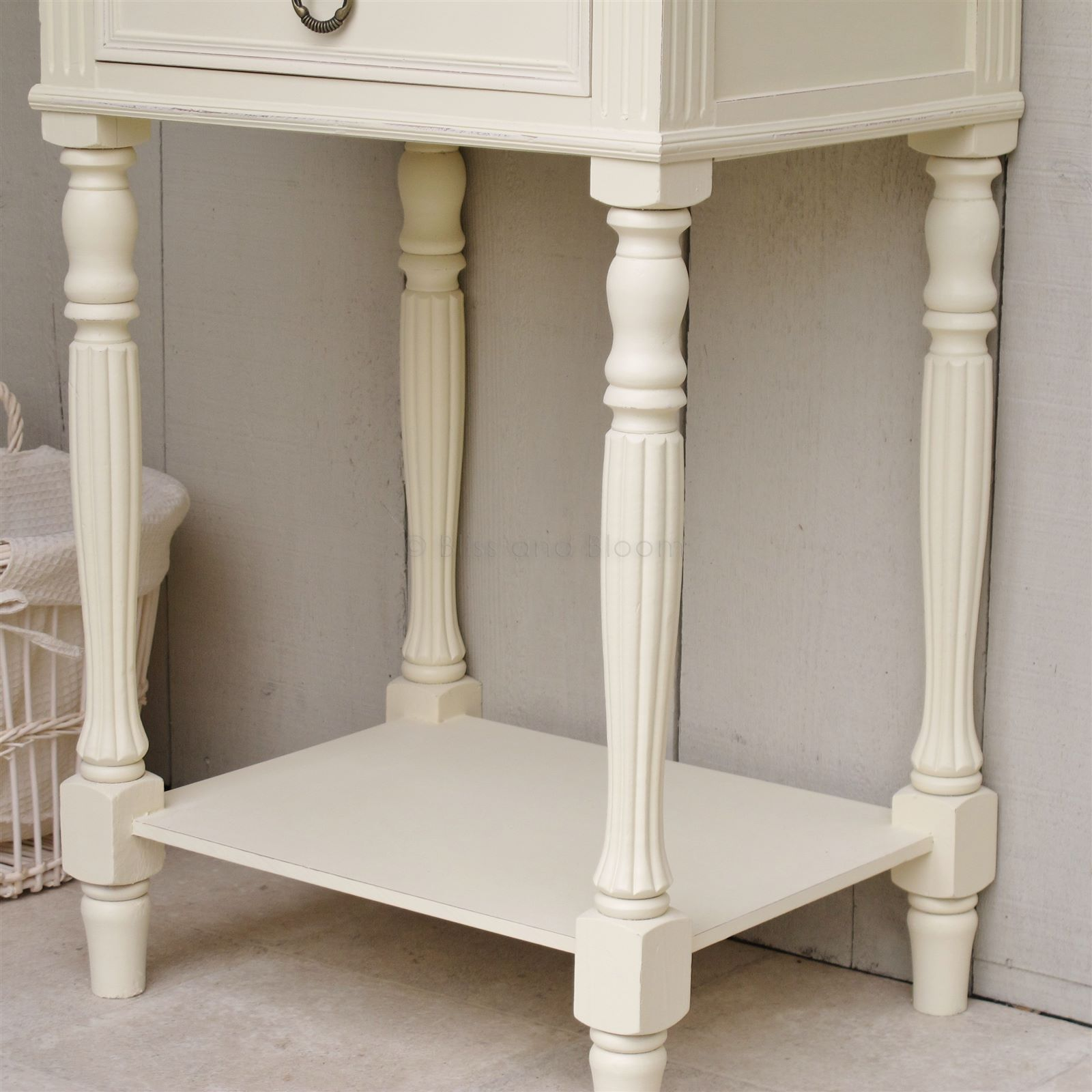 Cream Bedside Side Table ...