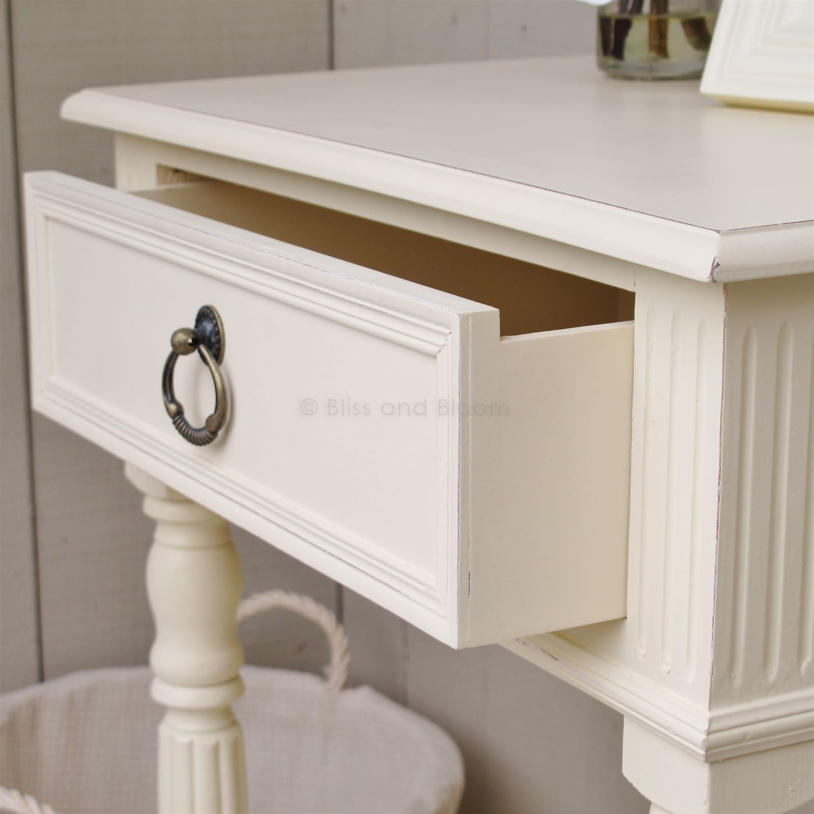 Cream Bedside Table Seconds Bliss And Bloom Ltd