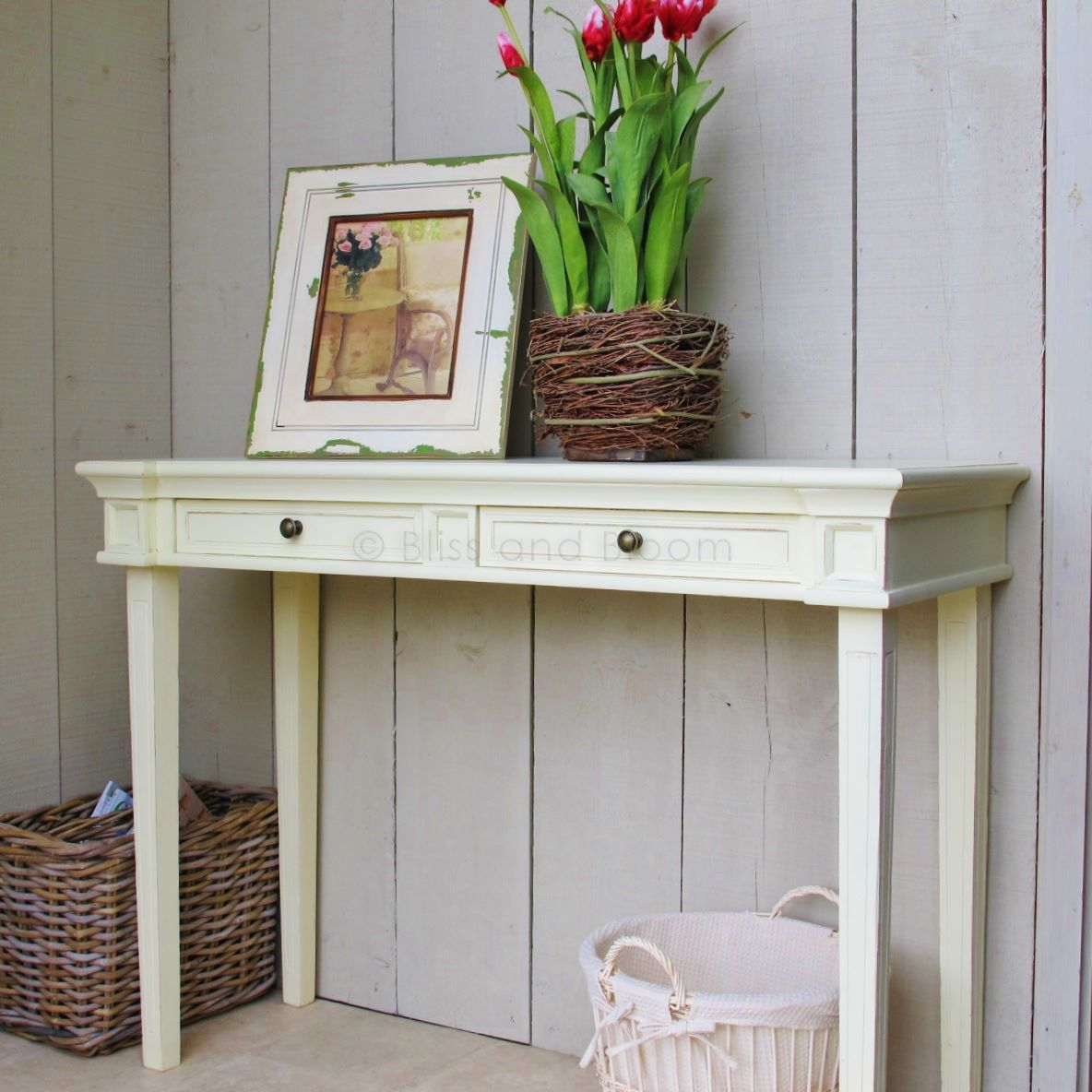 Cream console table seconds bliss and bloom ltd for Cream hall table
