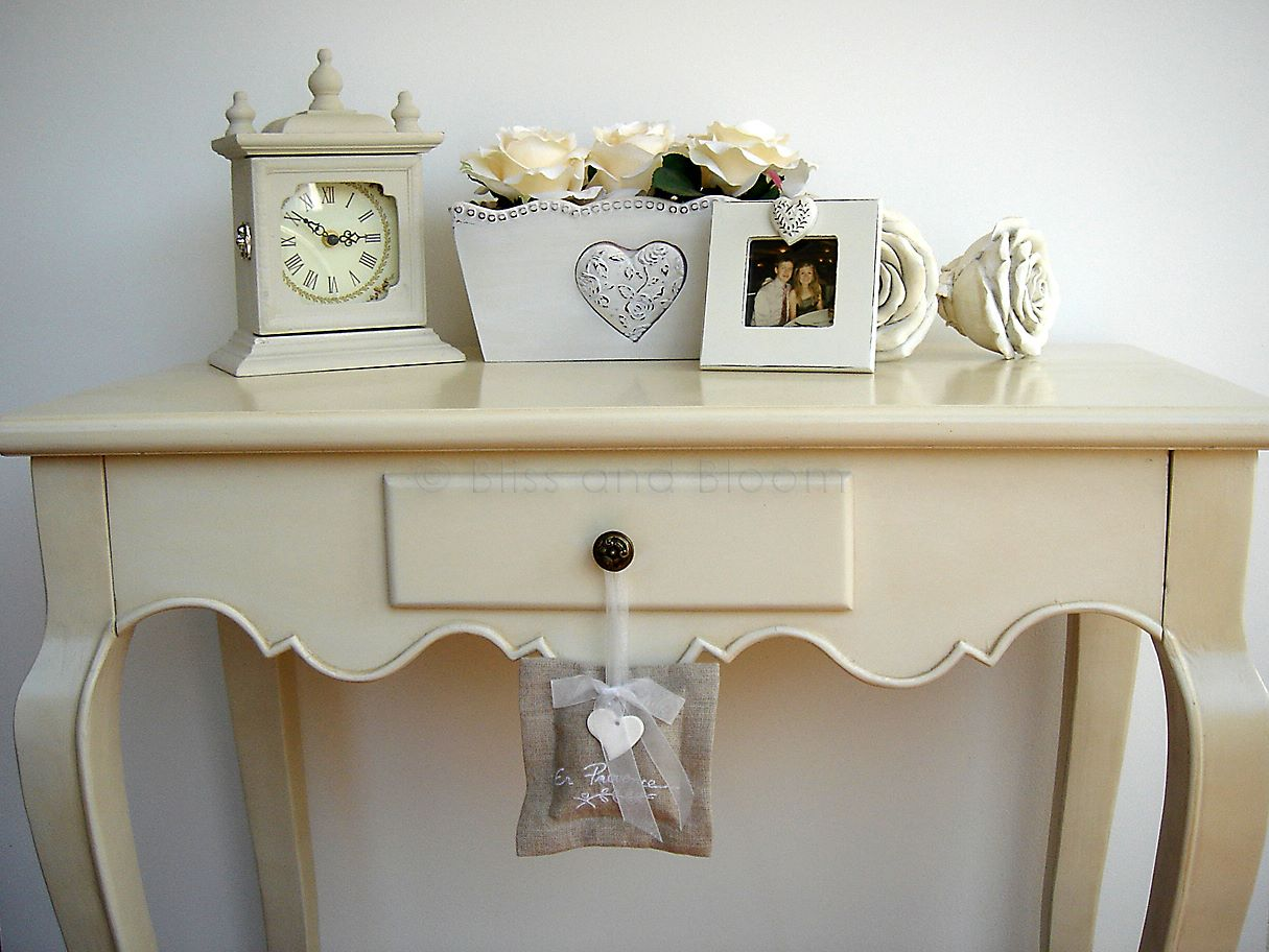 Elegant cream console table bliss and bloom ltd for Cream hall table