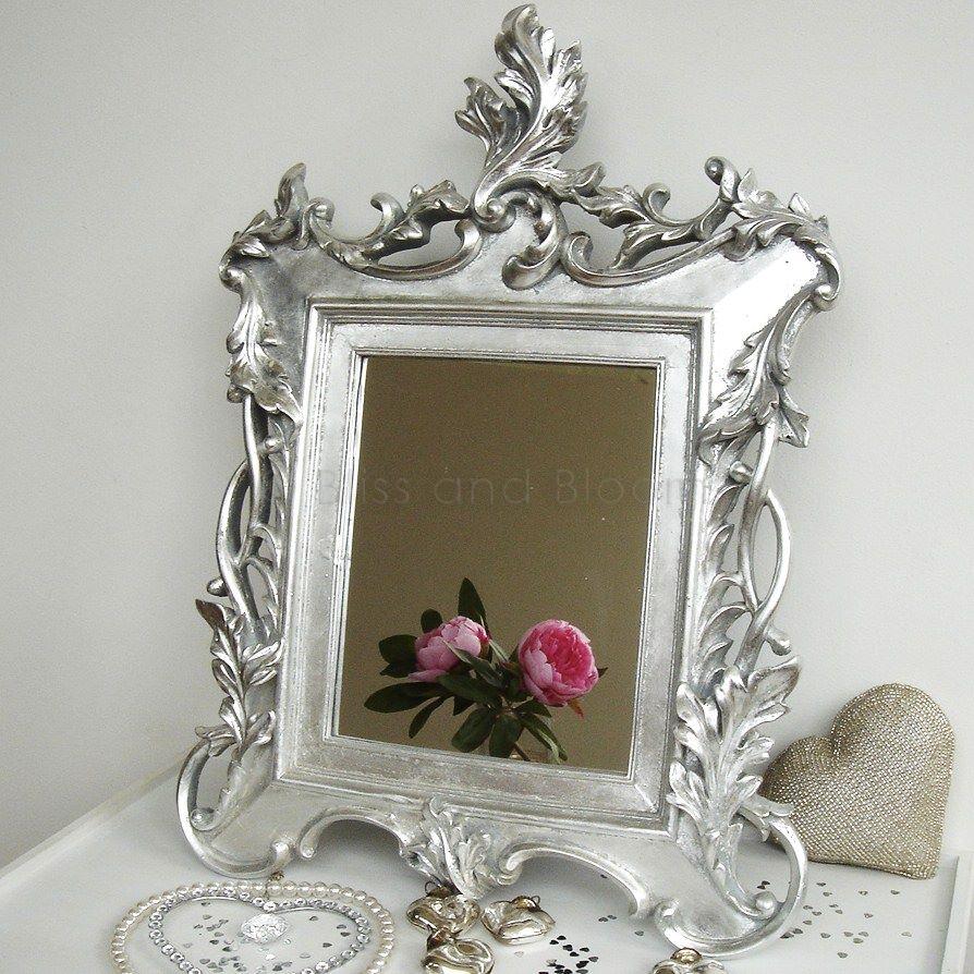 Silver baroque mirror bliss and bloom ltd for Baroque bathroom mirror