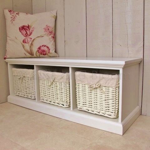 Cream Storage Bench Cream 3 Basket Storage Bench