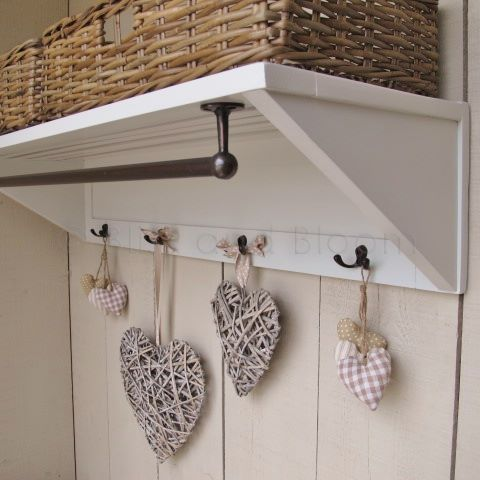 Painted Shelf Storage And Hooks. Hover To Zoom Click Here For A Bigger  Picture