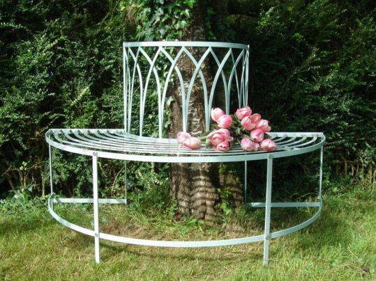 French grey tree bench seat bliss and bloom ltd for Benches that go around trees