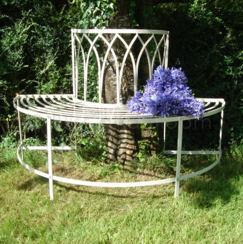 Cream tree bench seat bliss and bloom ltd for Benches that go around trees