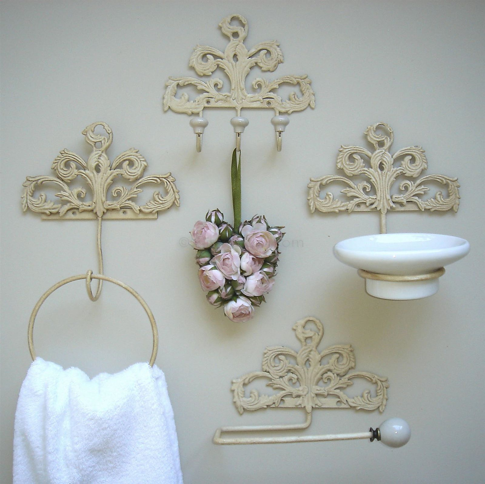 Cream french style bathroom set bliss and bloom ltd for Cream bathroom accessories set