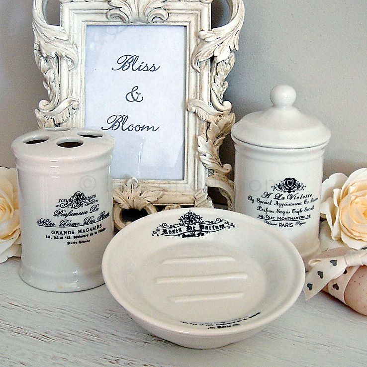 French Script 3pc Bathroom Set Bliss And Bloom Ltd