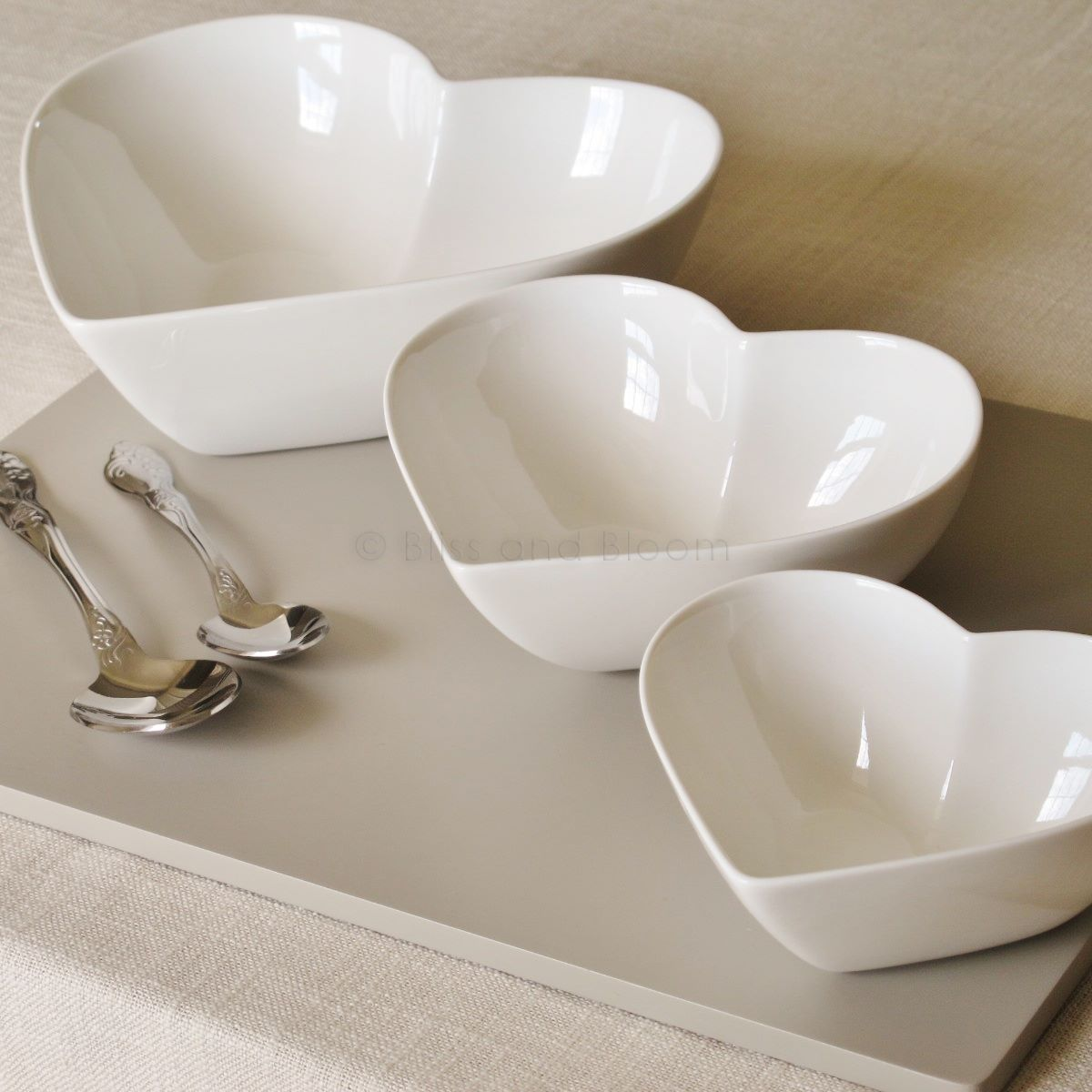 Set Of 3 Heart Shaped Bowls Bliss And Bloom Ltd