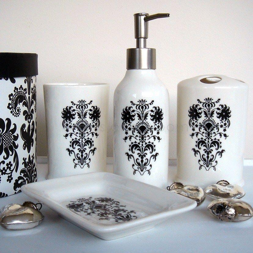Damask 4pc bath set   Bliss and Bloom Ltd