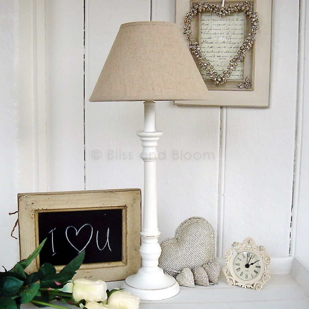 white table lamp linen shade bliss and bloom ltd. Black Bedroom Furniture Sets. Home Design Ideas