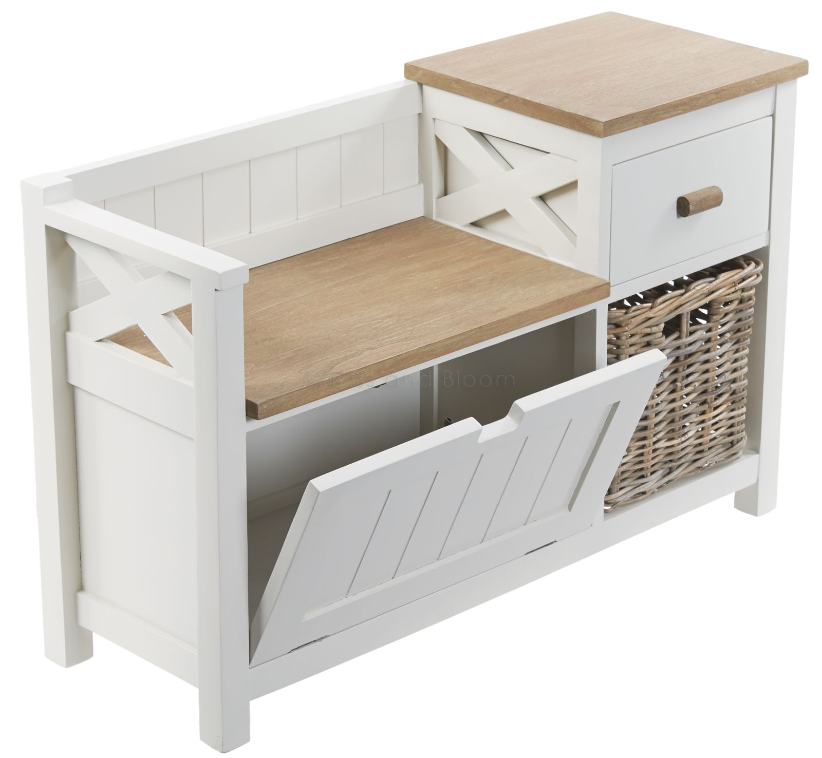 Marvelous photograph of Storage unit seat bench with drawer and basket. Has a rough and rustic  with #80674B color and 1600x1476 pixels