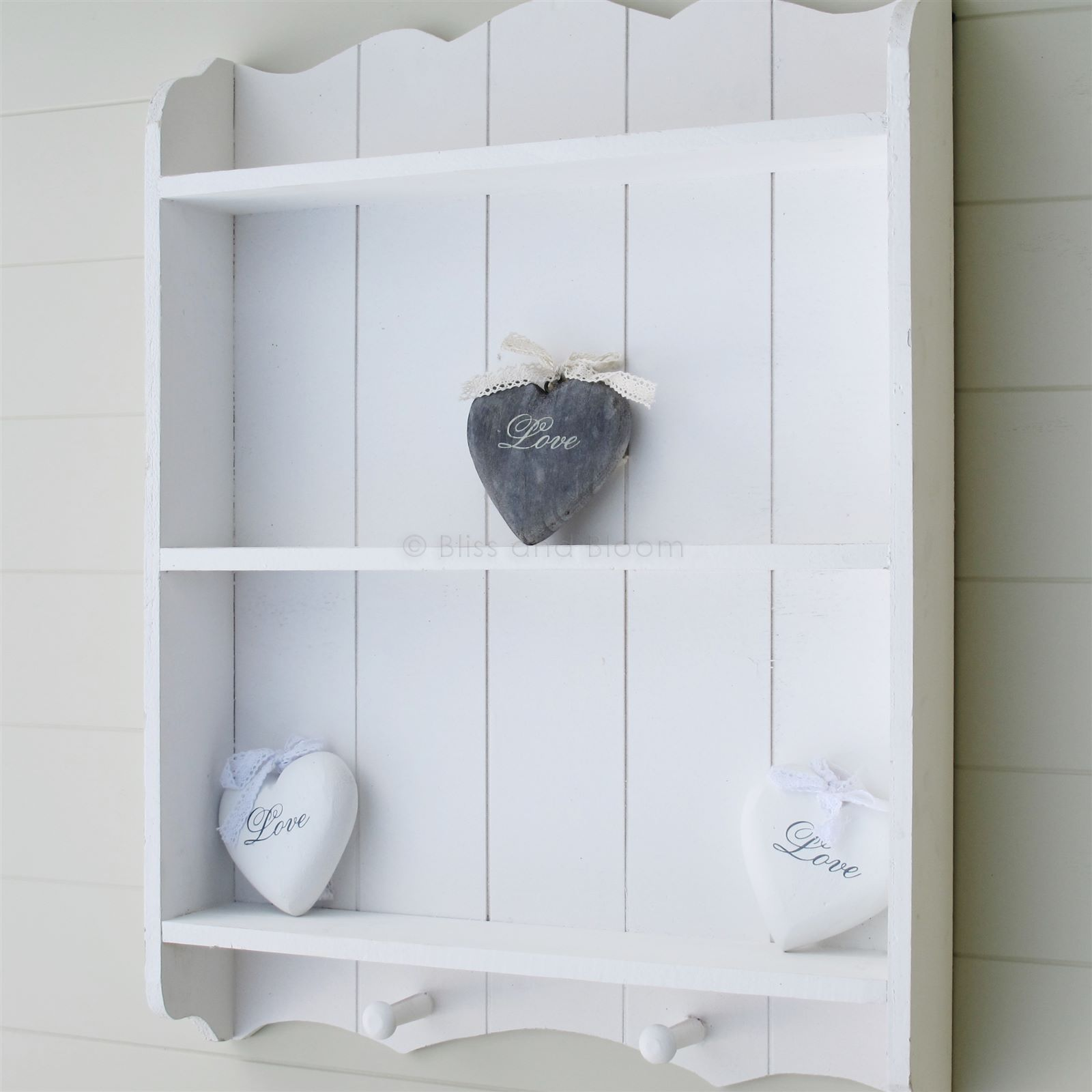 White Wall Shelf With Hooks Bliss And Bloom Ltd