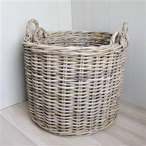 2 Round Rattan Baskets Log Laundry